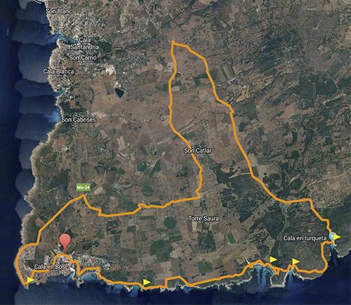 BeachBike Menorca Diego Paredes alquiler de bicicletas rent a bike ruta 2