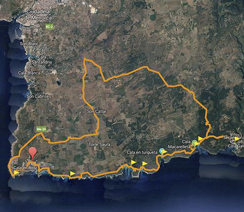 BeachBike Menorca Diego Paredes alquiler de bicicletas rent a bike ruta 3